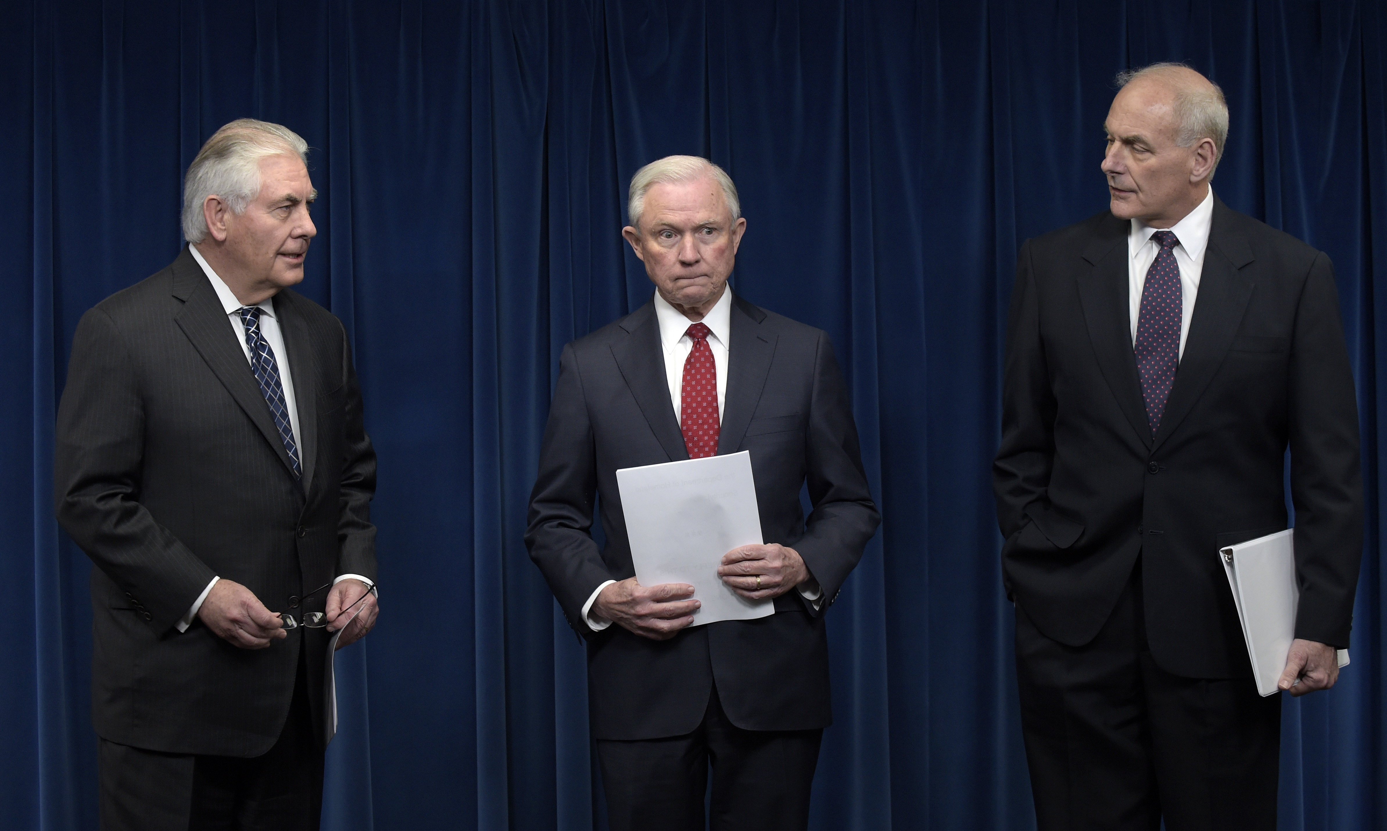 Image result for Images of Tillerson, Sessions, Kelly on Mar. 6, 2016