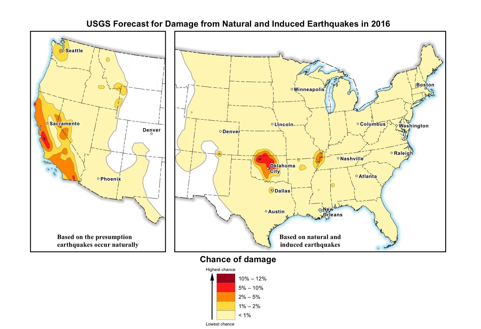 Feds Risk Of  Quake Increases Especially In Oklahoma - Map of us after new madrid earthquake